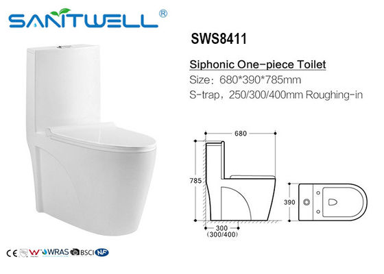 China Inodorowc/siphonic WC-water-Absorbeerbaarheid < 0,2%, Siphonic-Actietoilet fabriek