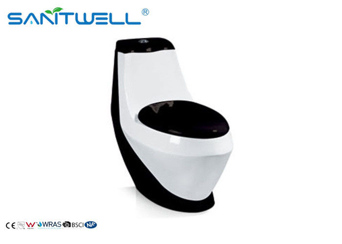 Porcelain 1 Piece Toilet  Standard WC 780*400*760 Mm SWC411 With CE Certification