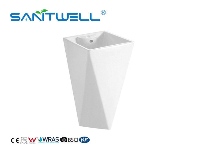 European Style White Toliet Pedestal Wash Basin Fixing To Wall With Back